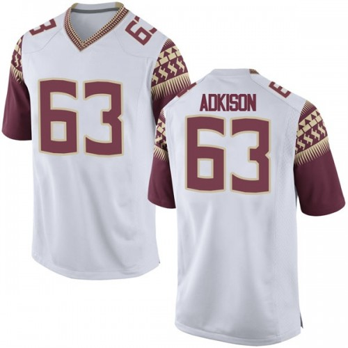 Men's Nike Tanner Adkison Florida State Seminoles Game White Football College Jersey