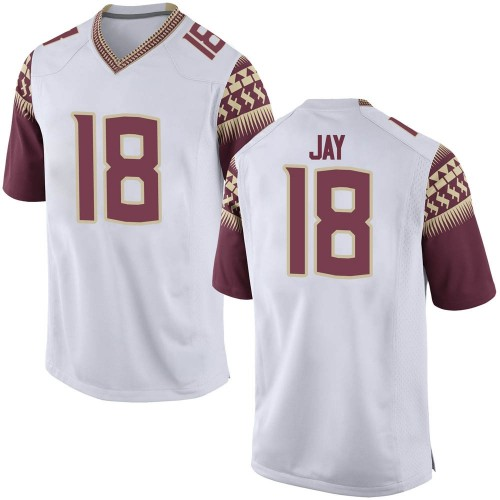 Men's Nike Travis Jay Florida State Seminoles Game White Football College Jersey