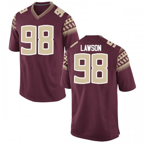 Men's Nike Tre Lawson Florida State Seminoles Game Garnet Football College Jersey