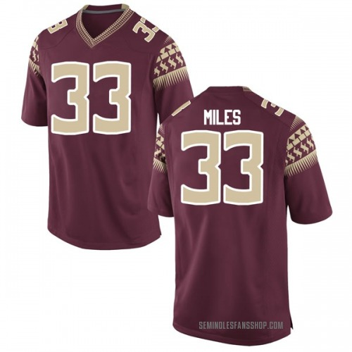 Men's Nike Will Miles Florida State Seminoles Game Garnet Football College Jersey