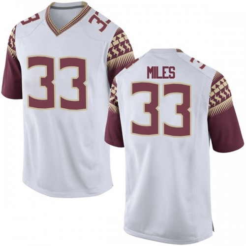 Men's Nike Will Miles Florida State Seminoles Game White Football College Jersey