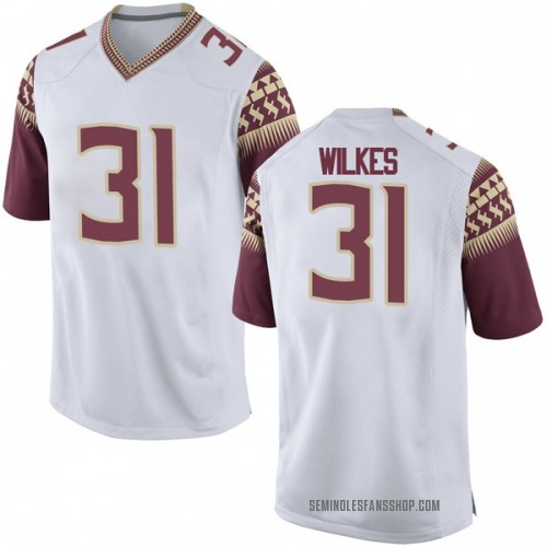 Men's Nike Wyatt Wilkes Florida State Seminoles Game White Football College Jersey