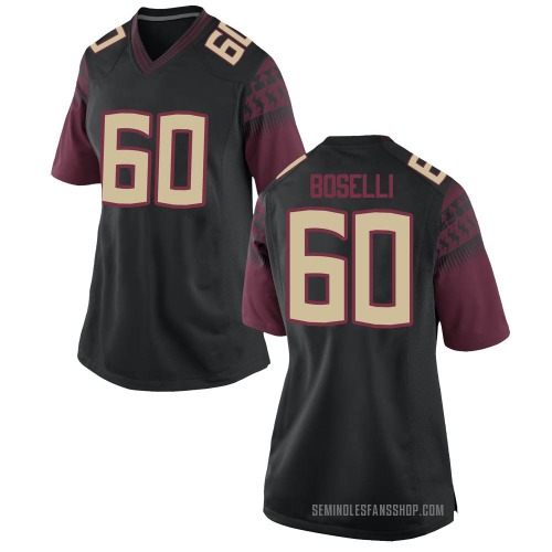 Women's Nike Andrew Boselli Florida State Seminoles Game Black Football College Jersey