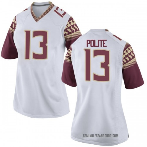 Women's Nike Anthony Polite Florida State Seminoles Game White Football College Jersey
