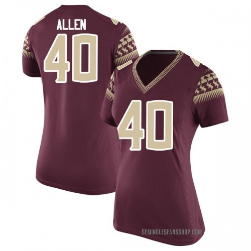 Women's Nike Brandon Allen Florida State Seminoles Game Garnet Football College Jersey