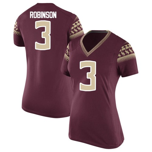 Women's Nike Bryan Robinson Florida State Seminoles Game Custom Garnet Football College Jersey