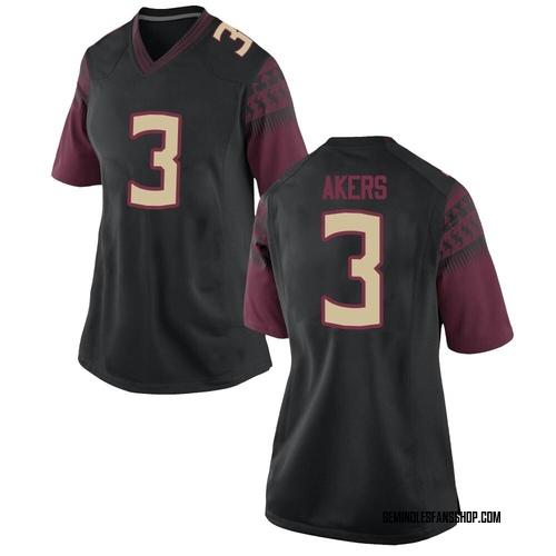 Women's Nike Cam Akers Florida State Seminoles Game Black Football College Jersey
