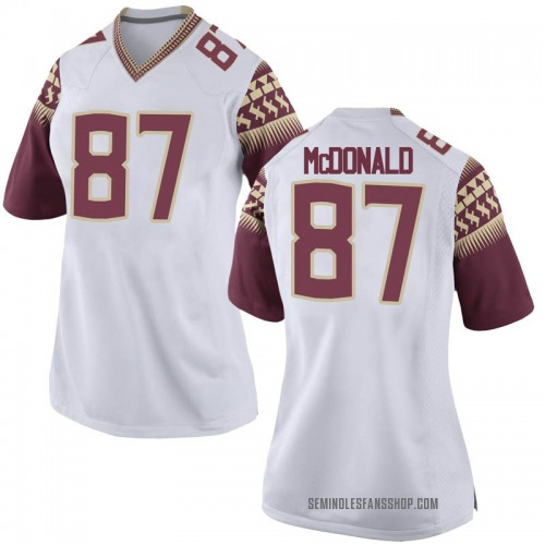 Women's Nike Camren McDonald Florida State Seminoles Game White Football College Jersey