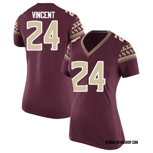 Women's Nike Cedric Vincent Florida State Seminoles Game Garnet Football College Jersey