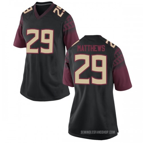 Women's Nike D.J. Matthews Florida State Seminoles Game Black Football College Jersey