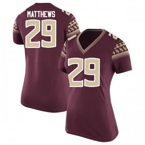 Women's Nike D.J. Matthews Florida State Seminoles Game Garnet Football College Jersey