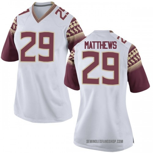 Women's Nike D.J. Matthews Florida State Seminoles Game White Football College Jersey