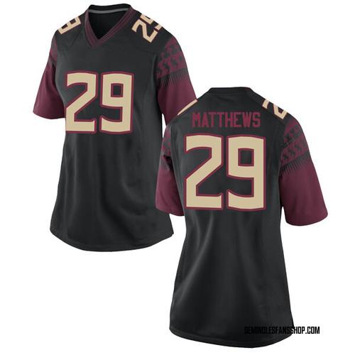 Women's Nike D.J. Matthews Florida State Seminoles Replica Black Football College Jersey