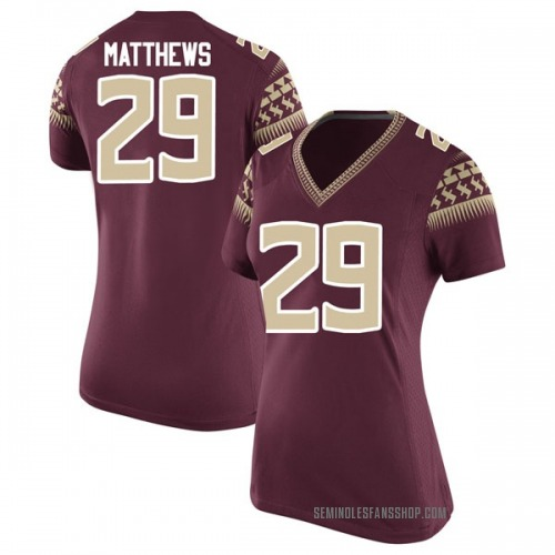 Women's Nike D.J. Matthews Florida State Seminoles Replica Garnet Football College Jersey