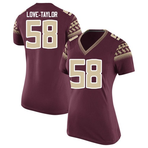 Women's Nike Devontay Taylor Florida State Seminoles Game Garnet Football College Jersey