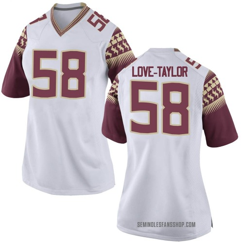 Women's Nike Devontay Taylor Florida State Seminoles Game White Football College Jersey
