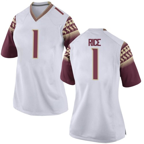 Women's Nike Emmett Rice Florida State Seminoles Game White Football College Jersey