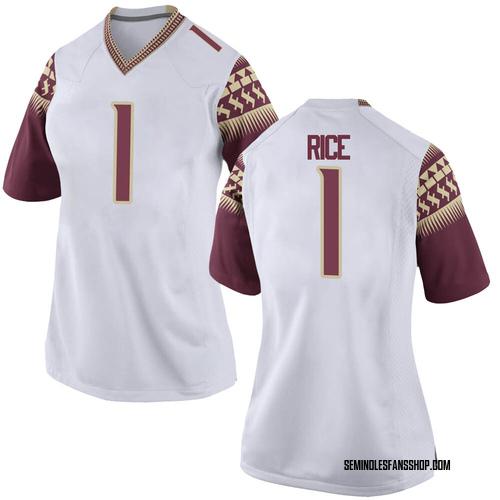 Women's Nike Emmett Rice Florida State Seminoles Replica White Football College Jersey
