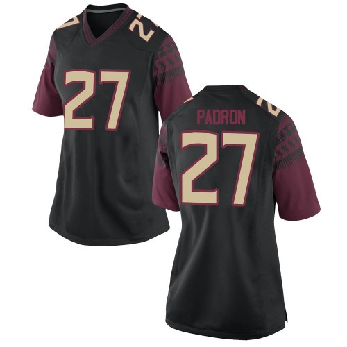 Women's Nike Fernando Padron Florida State Seminoles Game Black Football College Jersey