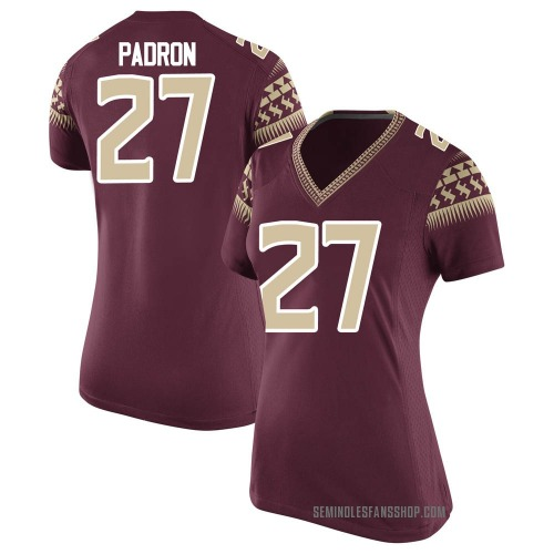 Women's Nike Fernando Padron Florida State Seminoles Game Garnet Football College Jersey