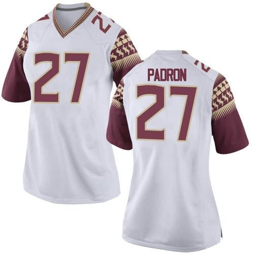 Women's Nike Fernando Padron Florida State Seminoles Replica White Football College Jersey