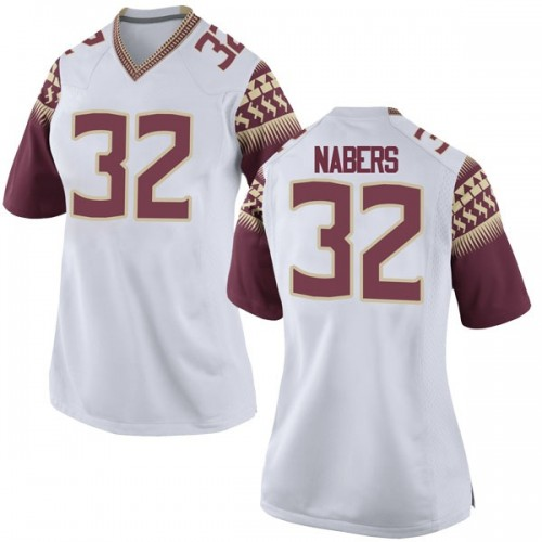 Women's Nike Gabe Nabers Florida State Seminoles Game White Football College Jersey