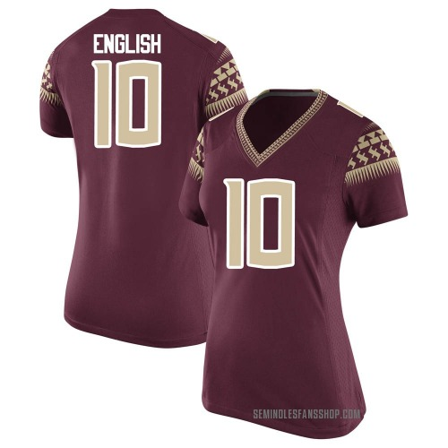 Women's Nike Gino English Florida State Seminoles Game Garnet Football College Jersey