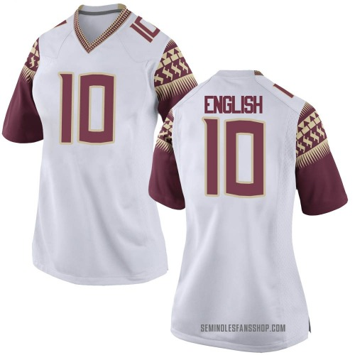 Women's Nike Gino English Florida State Seminoles Game White Football College Jersey