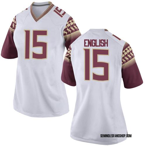 Women's Nike Gino English Florida State Seminoles Game White Football College Jersey