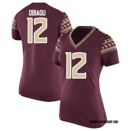 Women's Nike Ike Obiagu Florida State Seminoles Game Garnet Football College Jersey