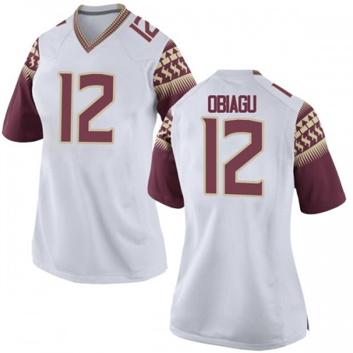Women's Nike Ike Obiagu Florida State Seminoles Game White Football College Jersey
