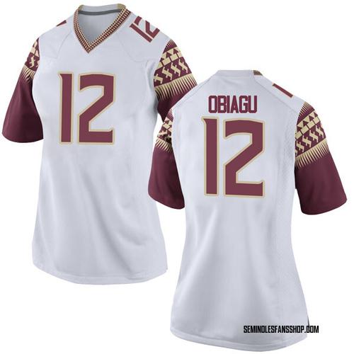 Women's Nike Ike Obiagu Florida State Seminoles Replica White Football College Jersey