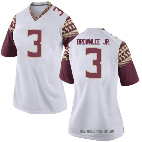 Women's Nike Jarvis Brownlee Florida State Seminoles Game White Football College Jersey