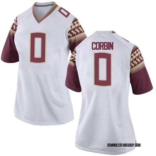 Women's Nike Jashaun Corbin Florida State Seminoles Replica White Custom Football College Jersey