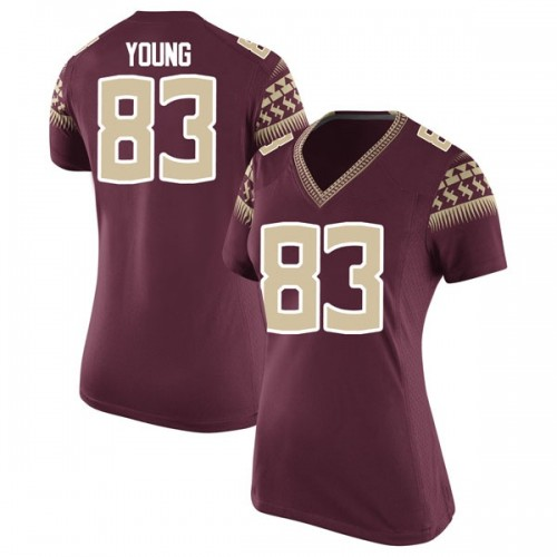 Women's Nike Jordan Young Florida State Seminoles Replica Garnet Football College Jersey