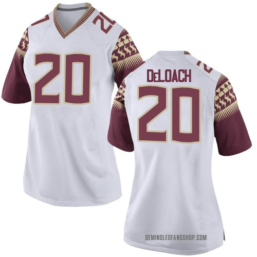 Women's Nike Kalen DeLoach Florida State Seminoles Game White Football College Jersey