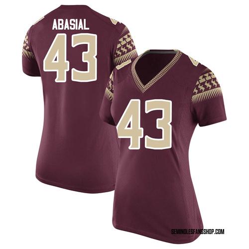 Women's Nike Keoki Abasial Florida State Seminoles Game Garnet Football College Jersey