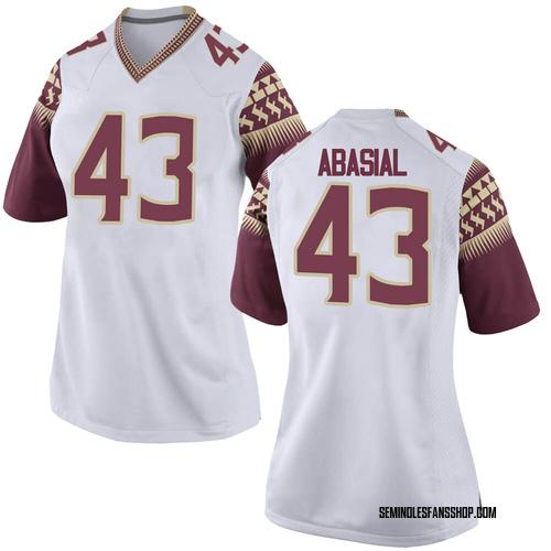 Women's Nike Keoki Abasial Florida State Seminoles Replica White Football College Jersey