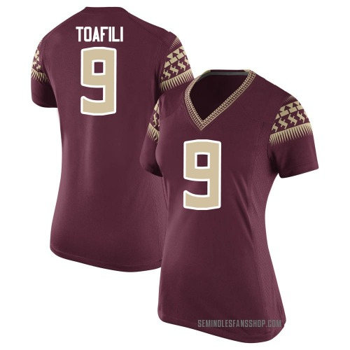 Women's Nike Lawrance Toafili Florida State Seminoles Game Garnet Football College Jersey