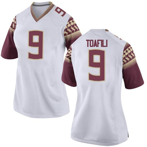 Women's Nike Lawrance Toafili Florida State Seminoles Game White Football College Jersey