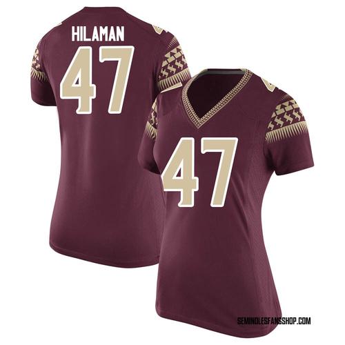 Women's Nike Marshall Hilaman Florida State Seminoles Game Custom Garnet Football College Jersey