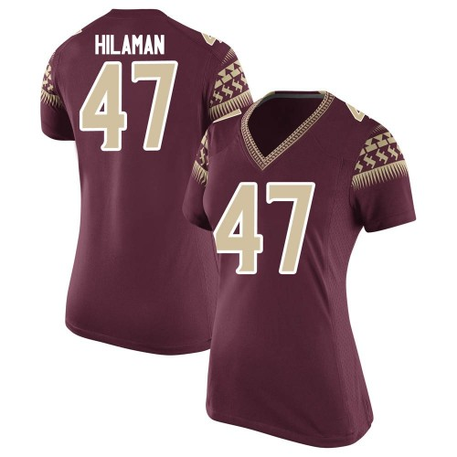Women's Nike Marshall Hilaman Florida State Seminoles Game Garnet Football College Jersey