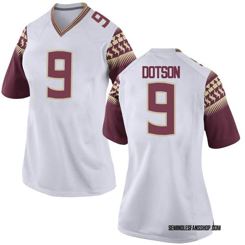 Women's Nike Meiko Dotson Florida State Seminoles Game White Custom Football College Jersey
