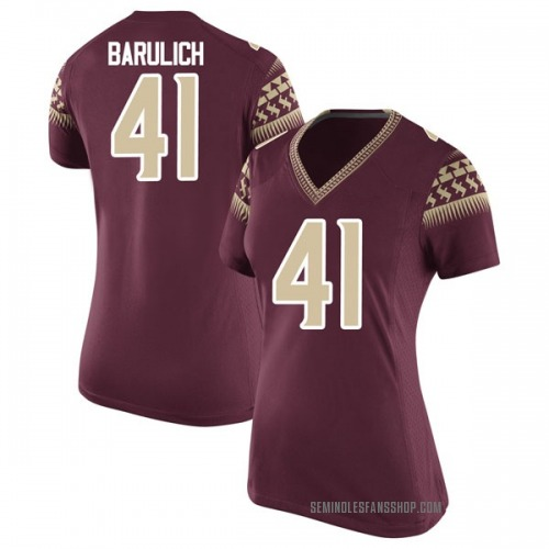 Women's Nike Michael Barulich Florida State Seminoles Game Garnet Football College Jersey