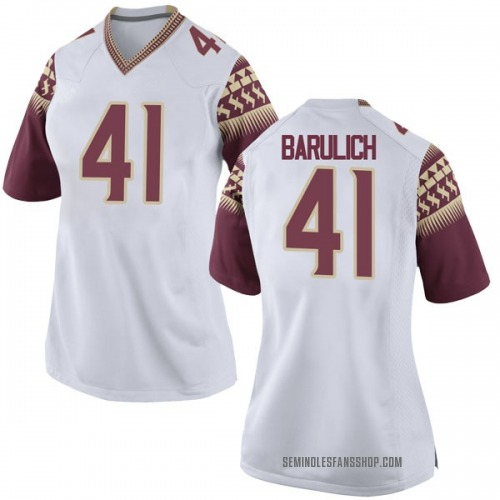 Women's Nike Michael Barulich Florida State Seminoles Game White Football College Jersey