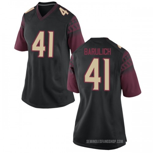 Women's Nike Michael Barulich Florida State Seminoles Replica Black Football College Jersey