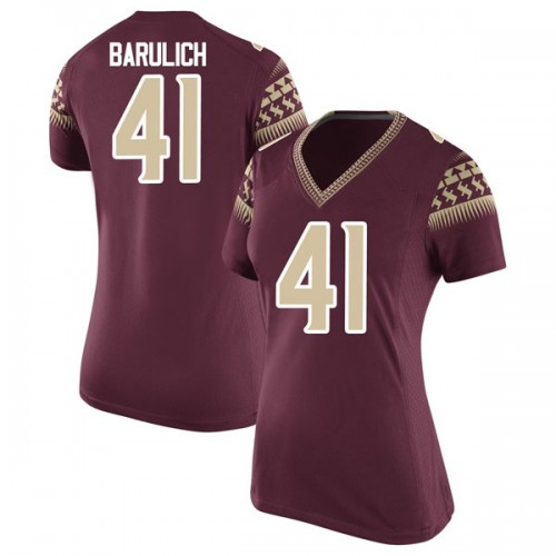 Women's Nike Michael Barulich Florida State Seminoles Replica Garnet Football College Jersey