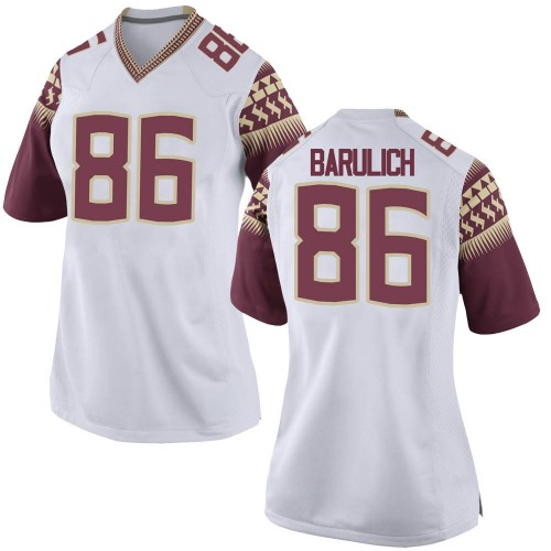 Women's Nike Michael Barulich Florida State Seminoles Replica White Football College Jersey
