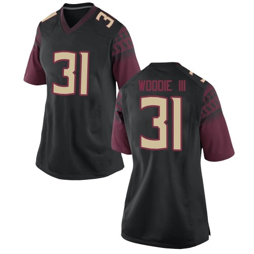Women's Nike Raymond Woodie III Florida State Seminoles Replica Black Football College Jersey