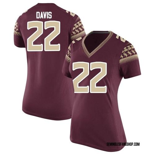 Women's Nike TJ Davis Florida State Seminoles Game Garnet Football College Jersey